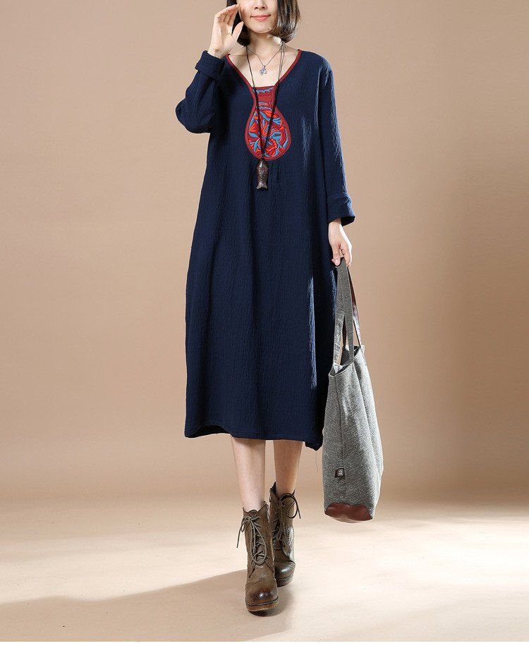 Women Retro Cotton Linen Loose V Neck Long Sleeve Dress