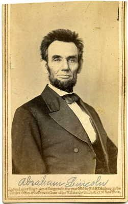 CDV of President Abraham Lincoln.  (unusual cropped-hair portrait).  *s*