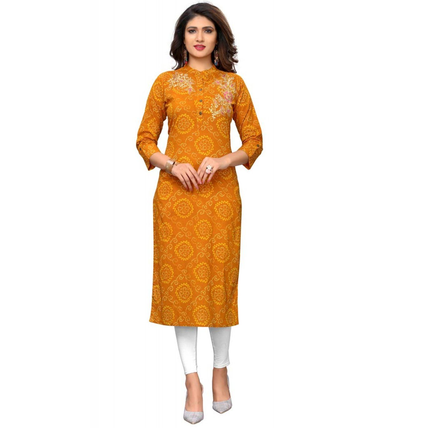 2f512a0ee79221 Yellow Color Cotton Party Wear Ready Made Kurtis For Girls - 404548830 30%  OFF Sale  kurtis  tops  kurta  readymadekurti  fashiontops  indiankurta ...