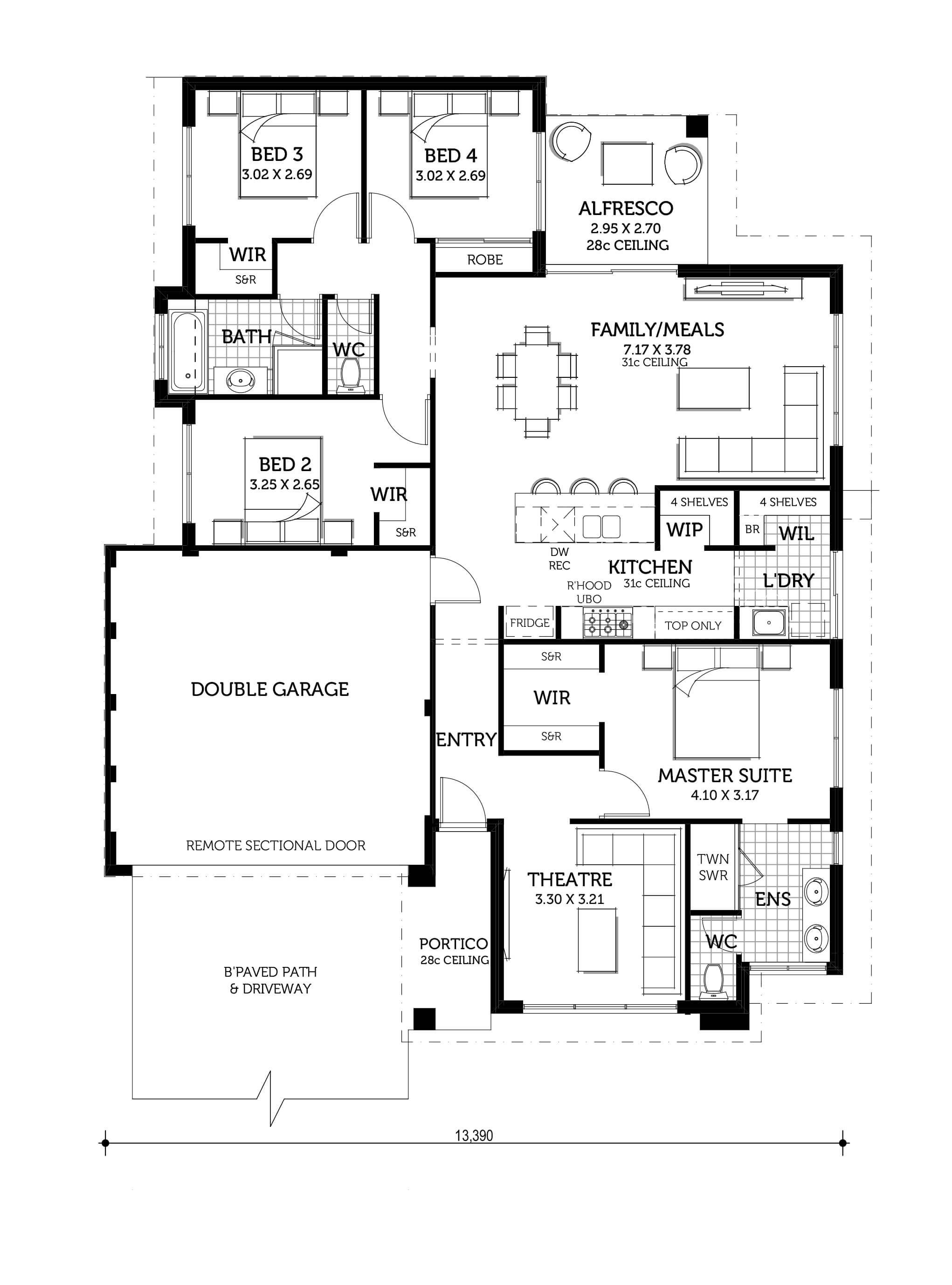 The Odin Home Design Smart Homes For Living 4 Bedroom House Designs Modern House Floor Plans House Construction Plan