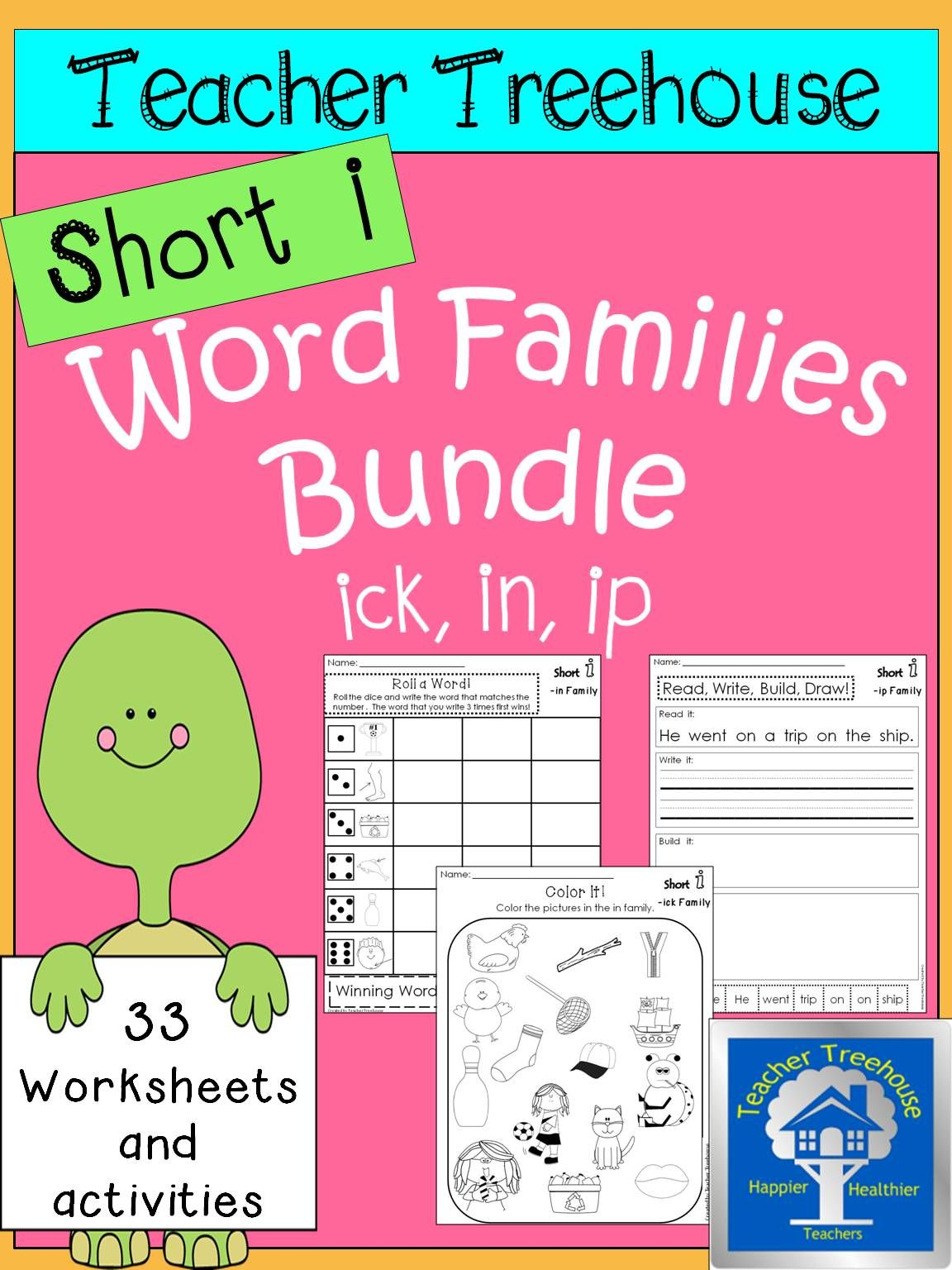 Short I Word Families Worksheets Bundle Ick Family In