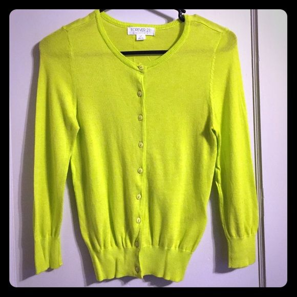 Lime green cardigan Forever 21 lime green crew neck cardigan. Worn ...