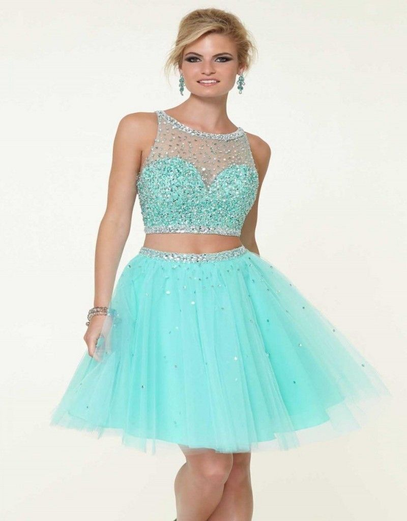 Sexy Two Pieces Homecoming Dresses 2016 With Crystals Beaded Mini