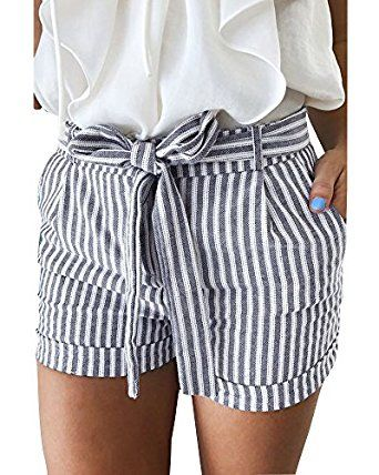 Women Summer Pants Stylish Loose Shorts Belt Beach High Waist Short Trousers Lot