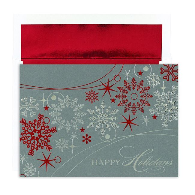 Hortense B. Hewitt Shimmer Snowflakes Boxed Holiday Cards
