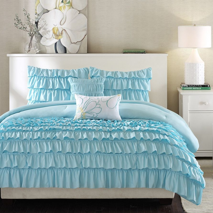 Light Blue Full Queen 5 Piece Comforter Set W 2 Shams 2 Pillows