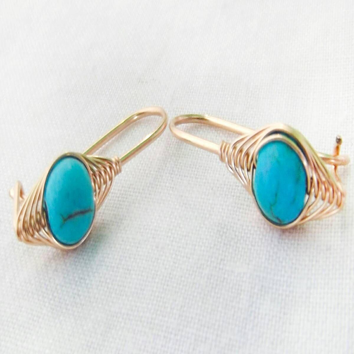 Turquoise earrings, turquoise gold earrings, gemstone ...