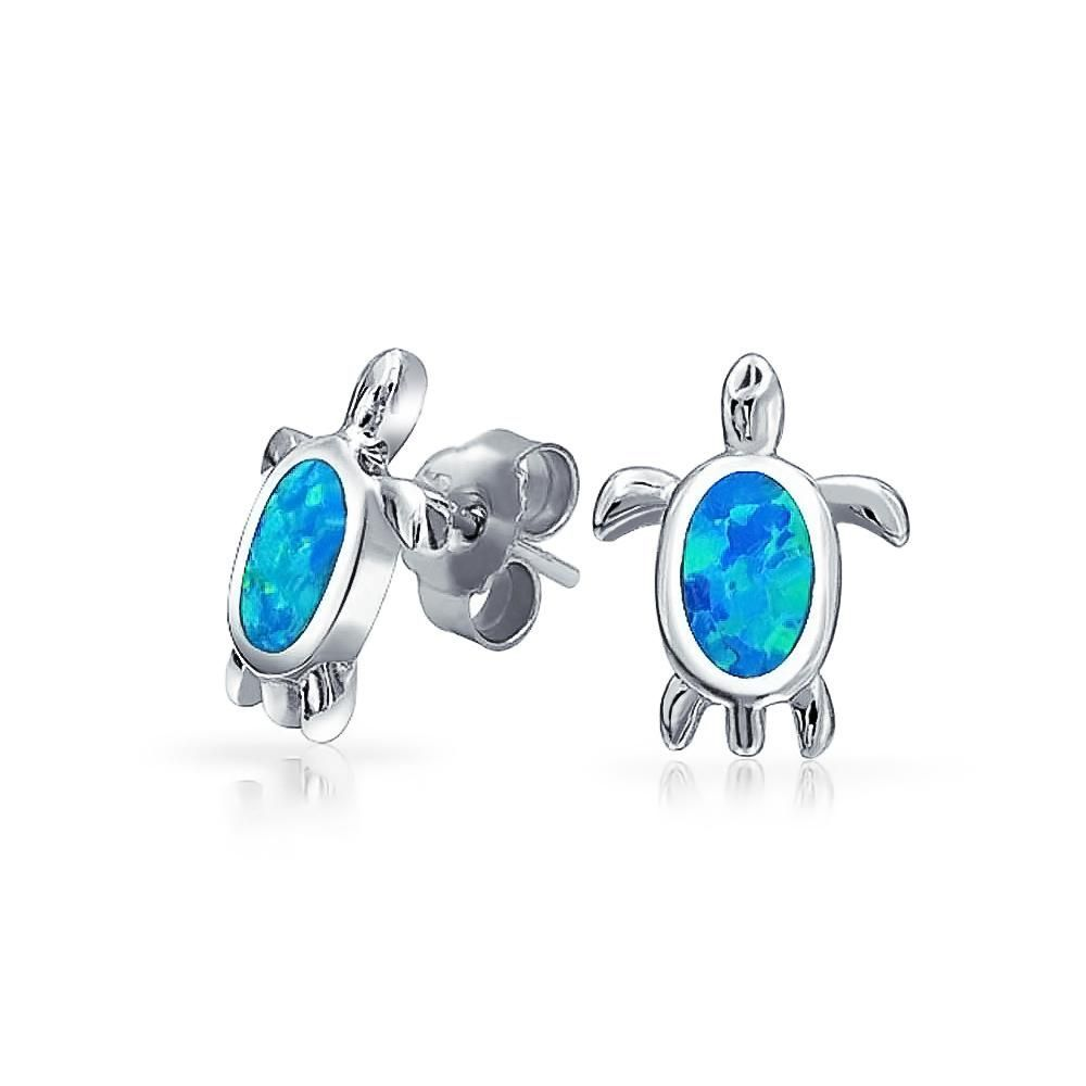 Hawaiian Blue Created Opal Turtle Stud Earrings Small Sterling Silver,  #Blue #created #Earri…