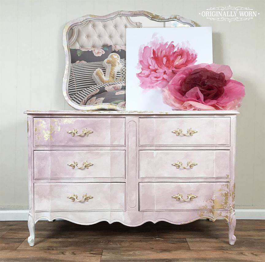 Pink Watercolor French Provincial Dresser Painted In Chalk Paint By Annie Sloan Pure White Antoinette Henrietta And Gold Leaf Originally Worn