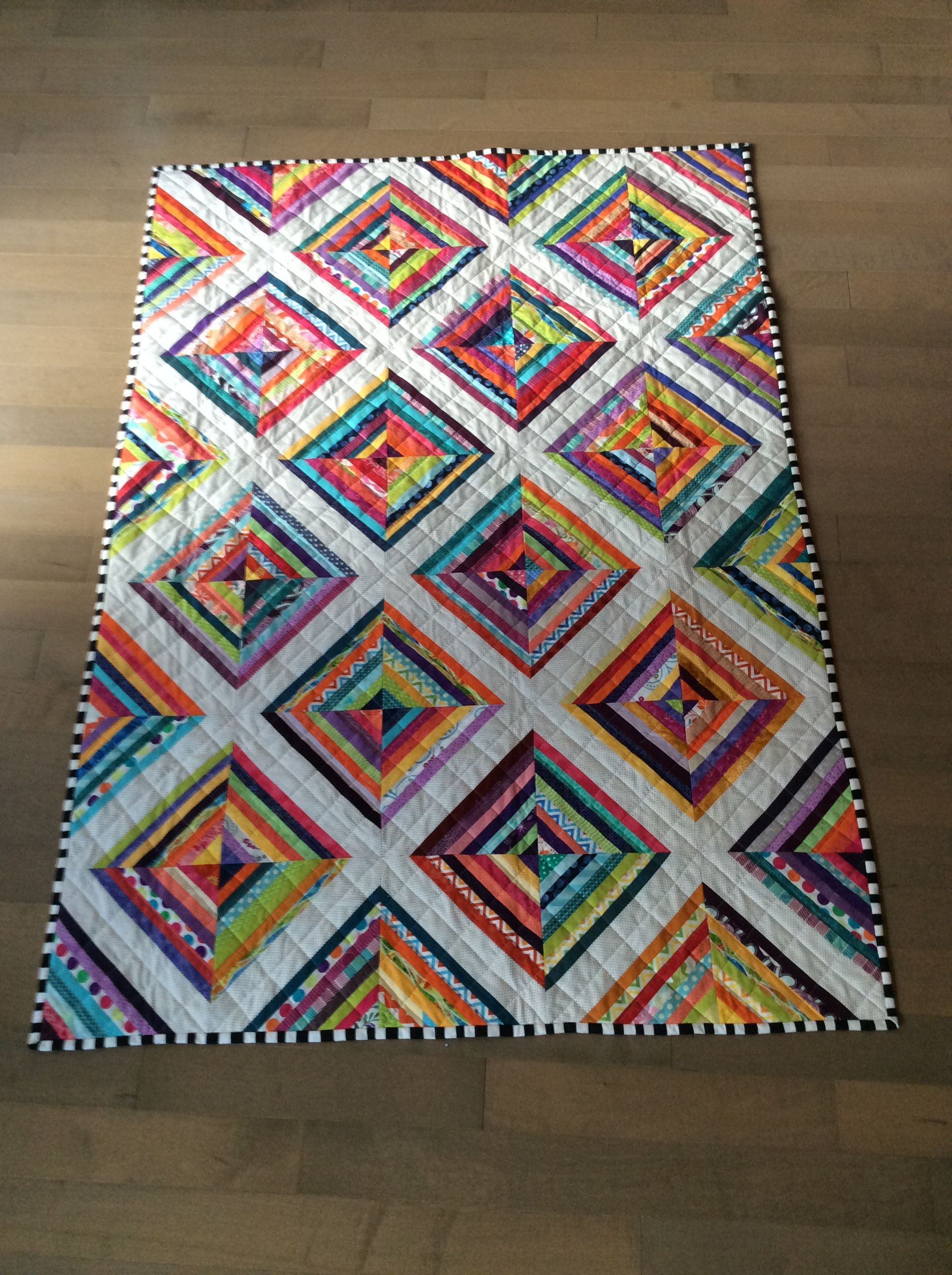 Gifted xmas 2016.  Scrappy quilt.  July 2015