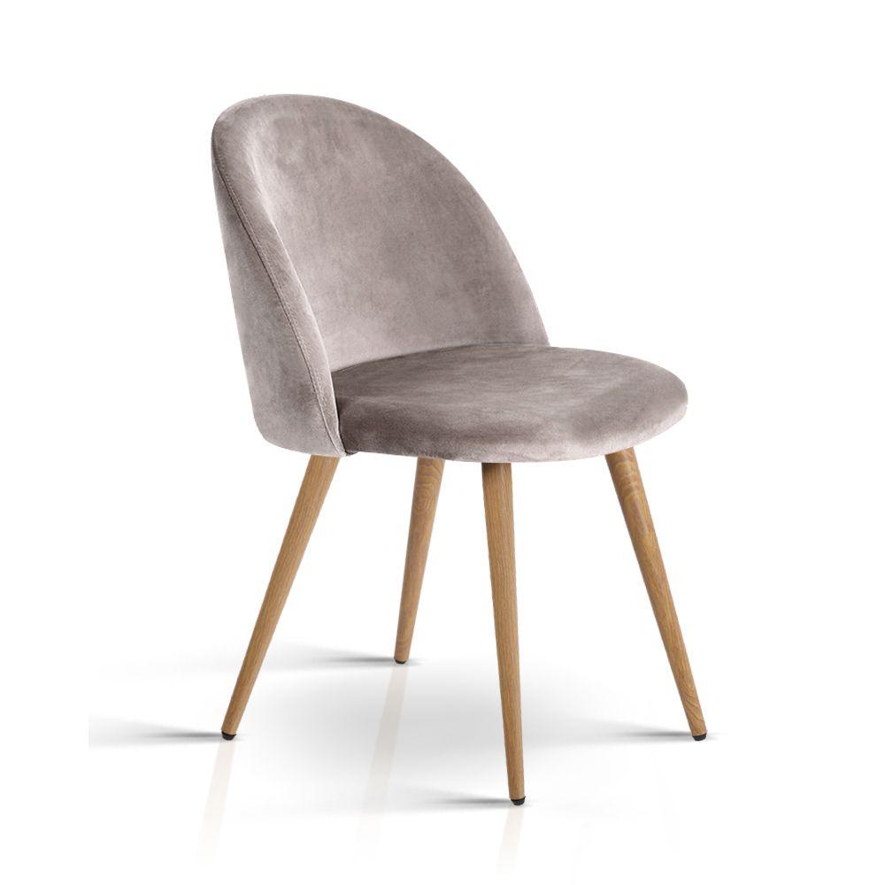 Set Of 2 Mona Velvet Dining Chair Light Grey Dining Chairs