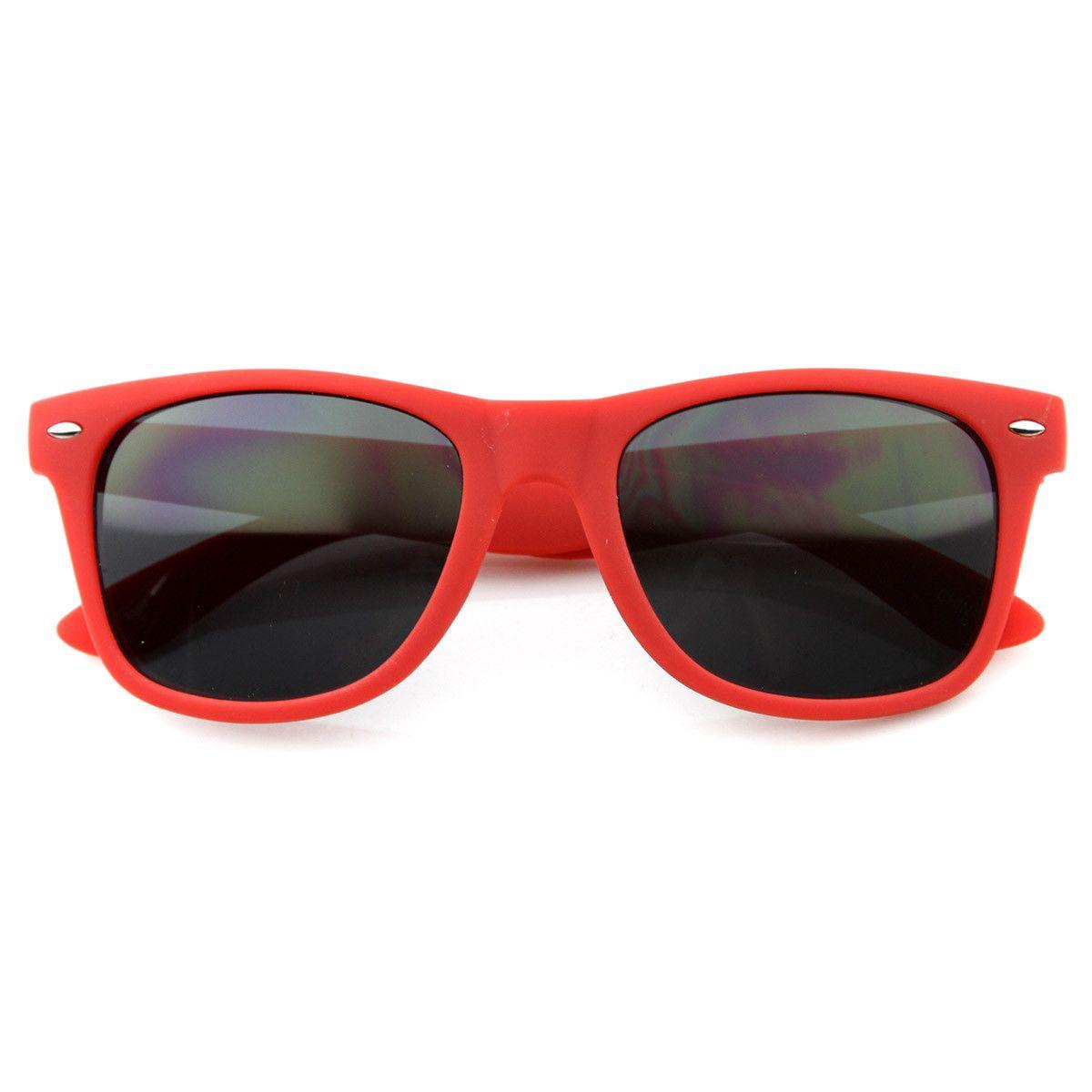 f62dc37309eea Classic 80s Retro Rubberized Soft Finish Matte Red Color Horn Rimmed  Sunglasses