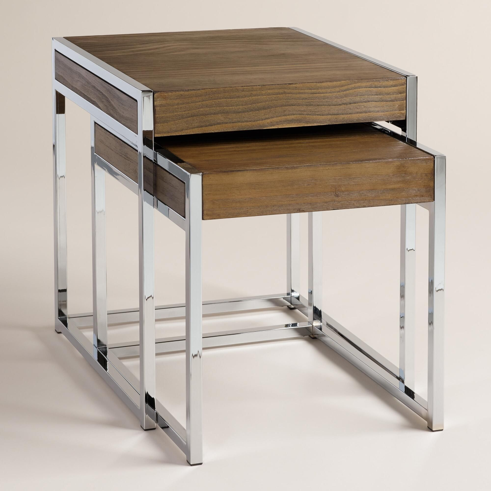 Wood and chrome pierceson nesting tables set of 2 contemporary with a square chrome tube frame and a distressed wood surface our nesting tables marry geotapseo Choice Image