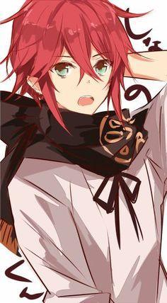 resultado de imagem para anime boy red hair with green