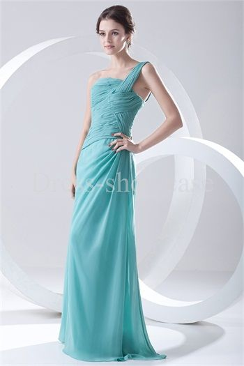Cadet Blue One Shoulder Ruching Chiffon A-Line Floor-length Bridesmaid Dress #bridesmaiddress #wedding #bigday #longgown #partydress #beauty #clothing #discount