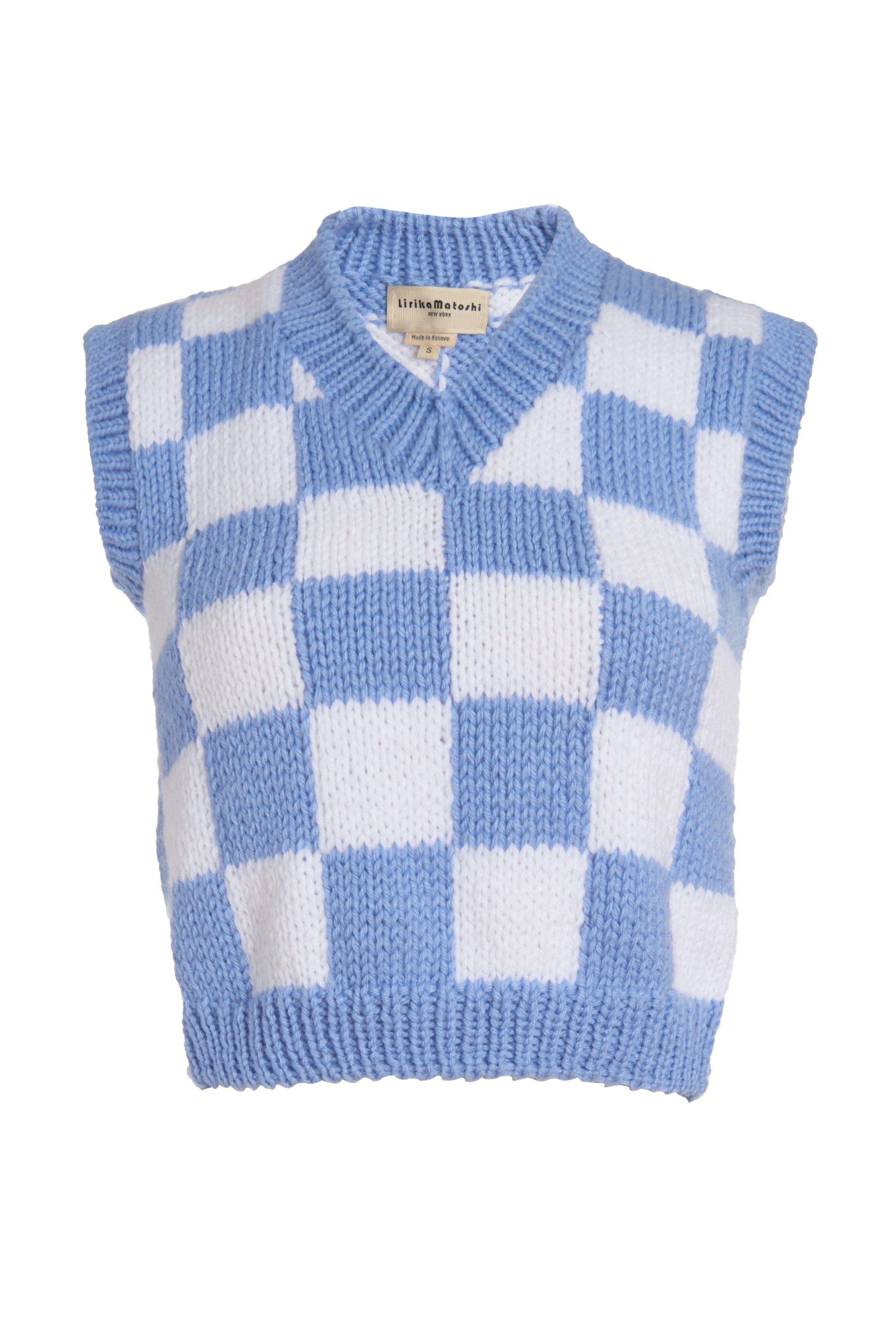 Gilet en tricot à carreaux – XS / Blanc & Bleu   – Products