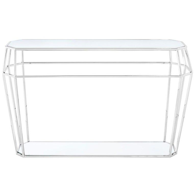 Console table Talisma glass with metalstructure in chrome finish, with glass tops.