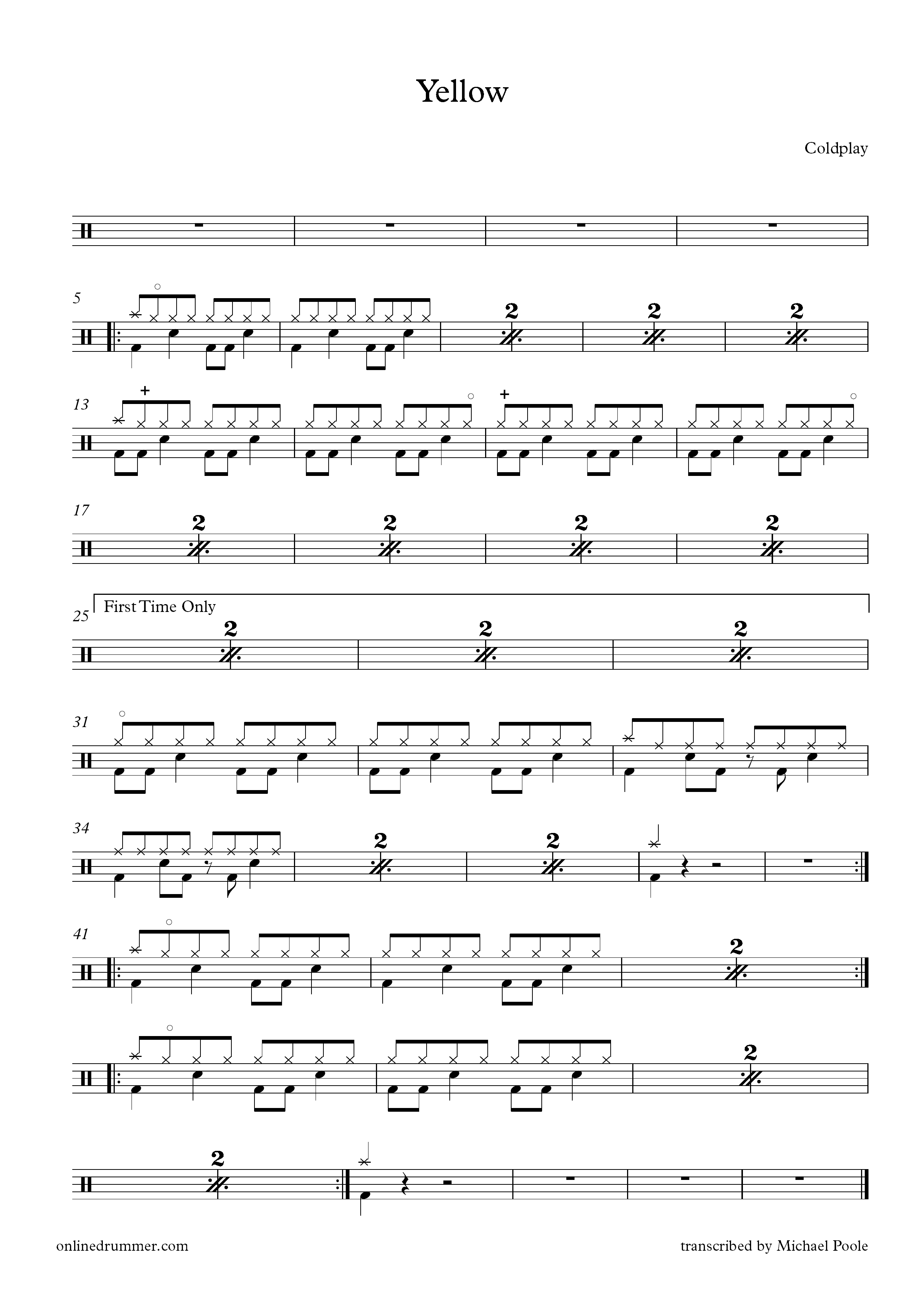 Yellow - Coldplay - Drum Sheet Music | Drum music in 2019