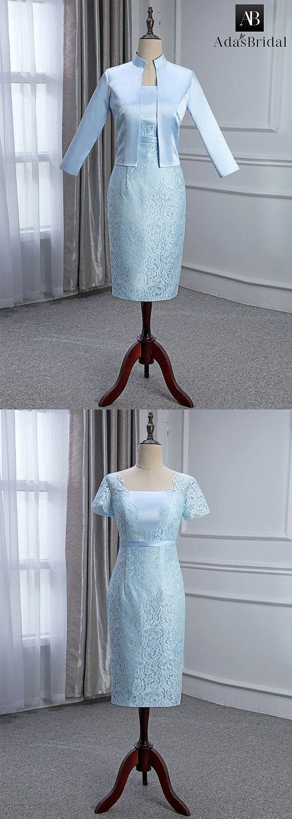 Elegant Lace & Satin Square Neckline Knee-length Sheath/Column ...