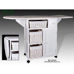 Mueble plancha madera blanco 3 cestas mimbre mdf madera for Mueble plancha plegable