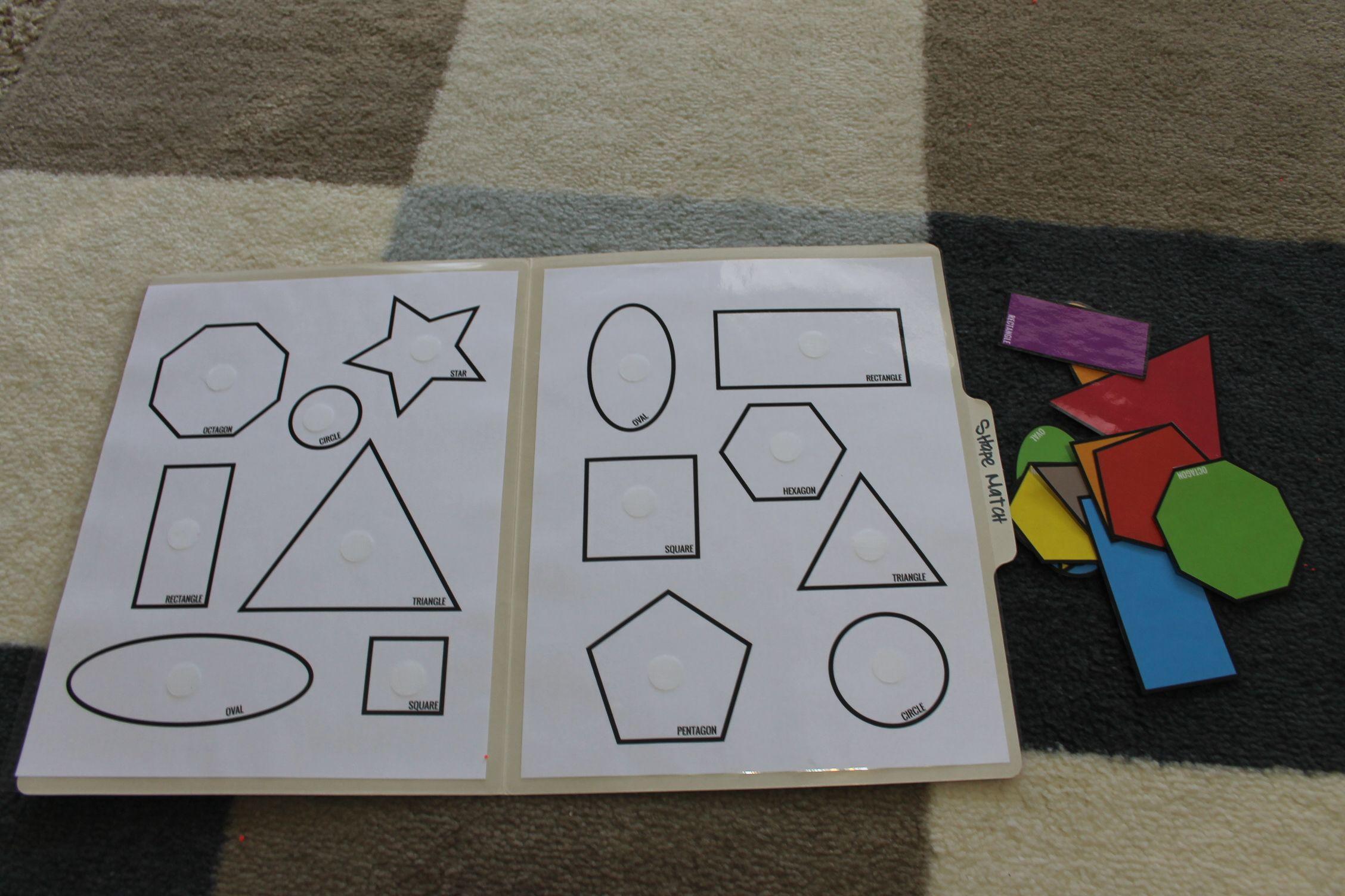 Shape Match Toddler Pre K File Folder Game Open