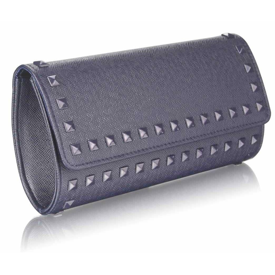 Grey studded clutch bag. The more basic clutch for those of you that prefer a little less sparkle. handbagandheel.com