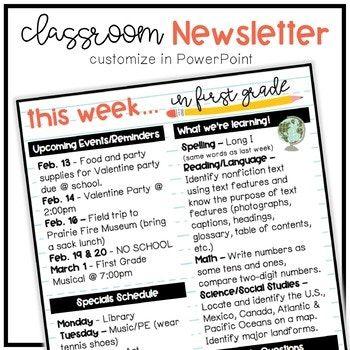 Editable Classroom Newsletter Classroom organization, Teaching - editable classroom newsletter