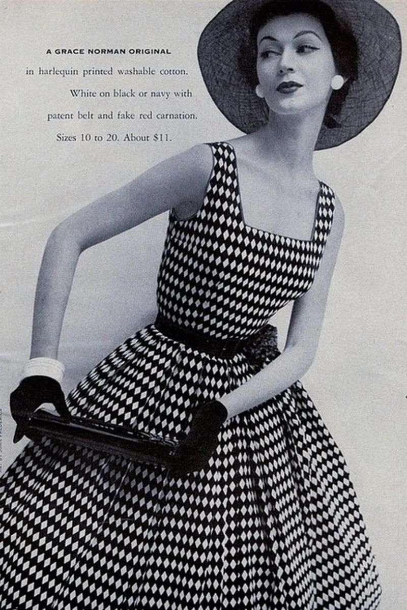 Dovima in a harlequin print dress for Grace Norman.