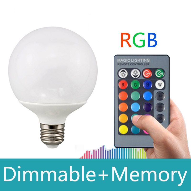 E27 rgb led 10W 16 color changeable With 24keys IR remote