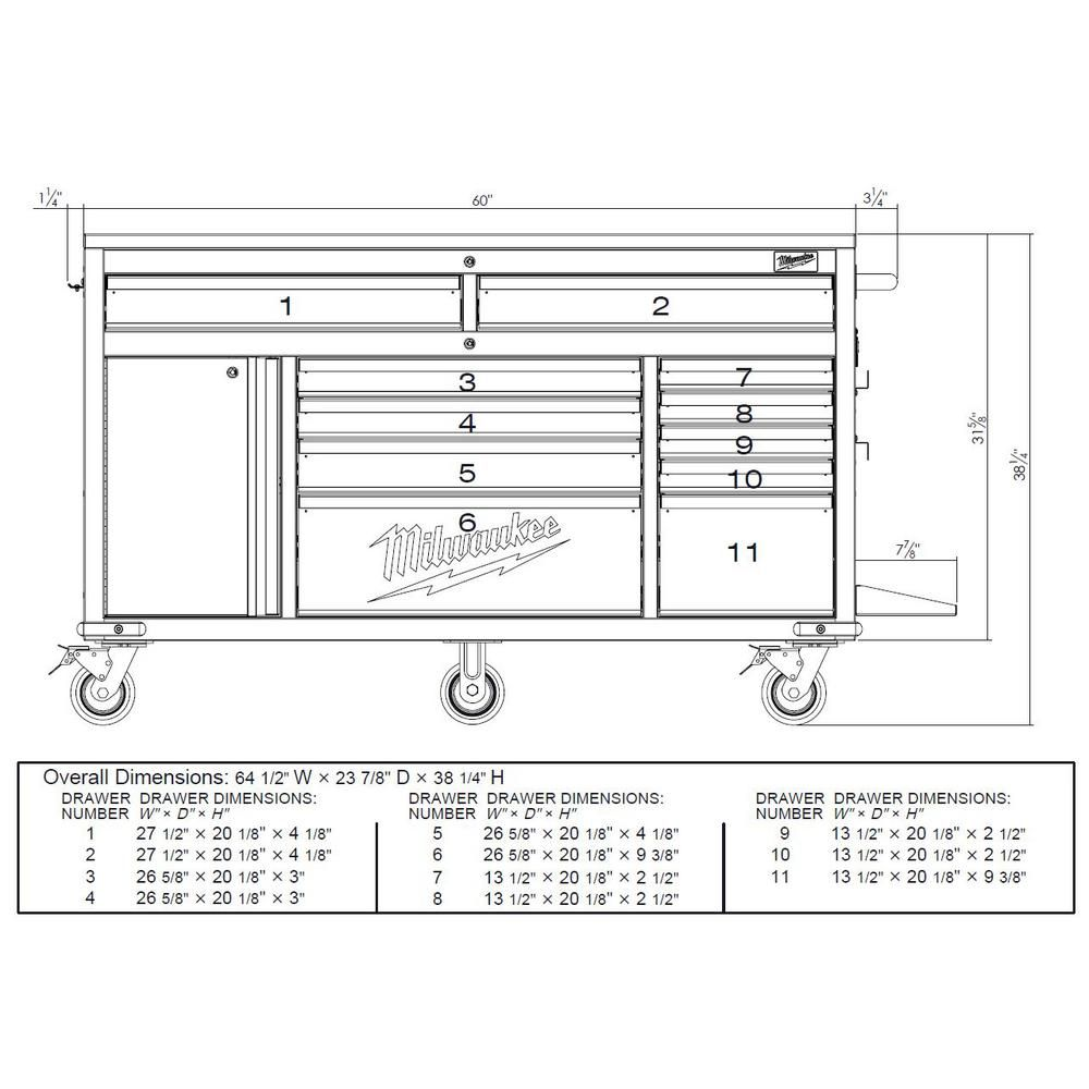 11 Drawer And 1 Door 22 In. D Mobile