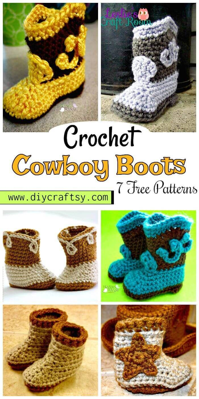 7 Free Crochet Cowboy Boots Patterns   Pinterest   Crochet cowboy ...