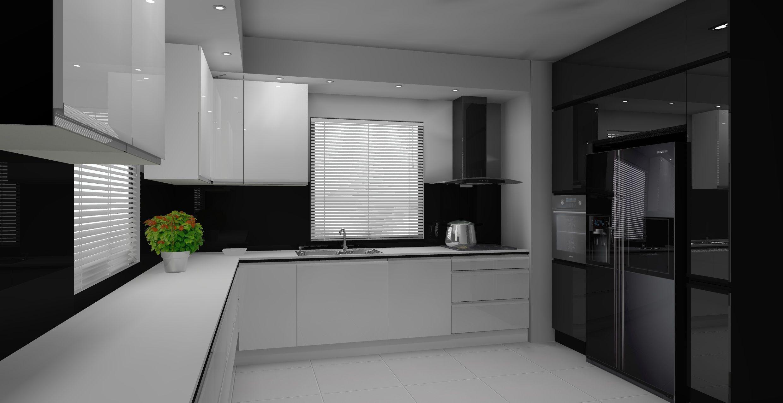 nowoczesna bialo czarna kuchnia  Pomysły do domu   -> Kuchnia Bialo Czarna Brazowa