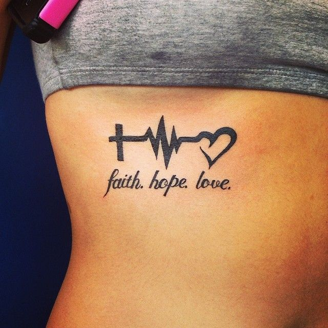 45 Perfectly Cute Faith Hope Love Tattoos And Designs With: 25 Heartbeat Tattoo Ideas And Design Lines