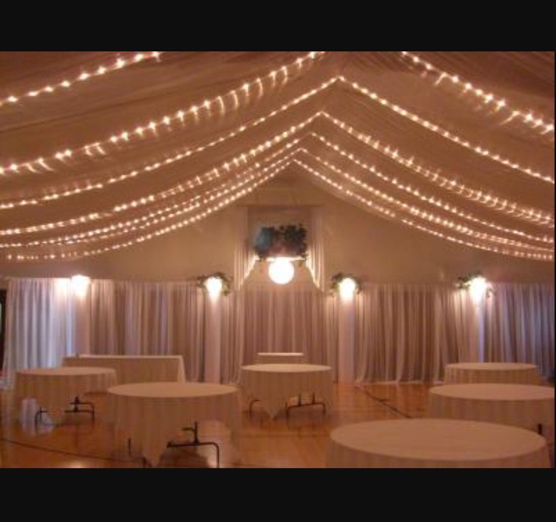 Wedding Reception Low Ceiling Drape String Lights
