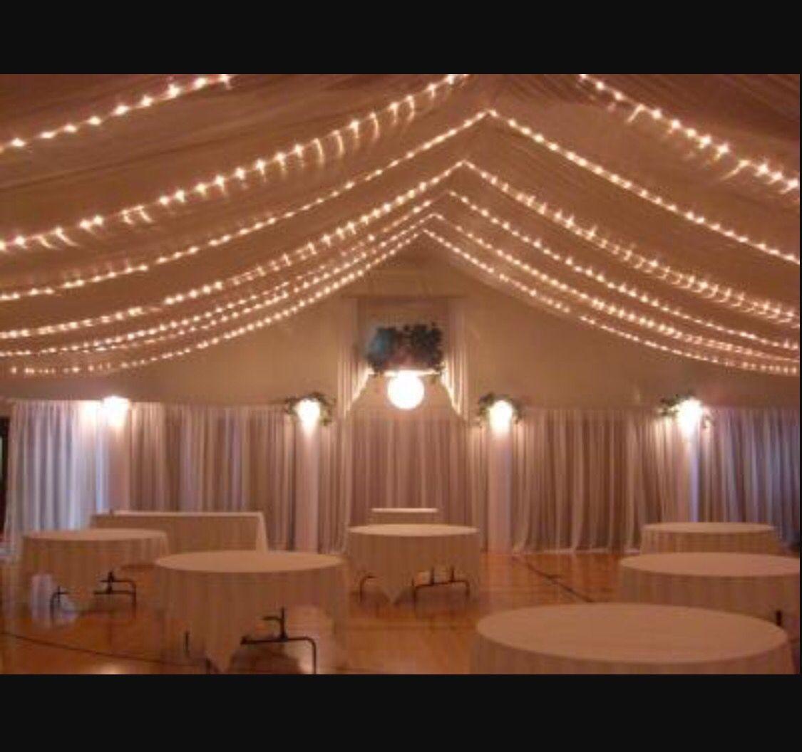 Wedding Reception Low Ceiling Drape String Lights | Good ...