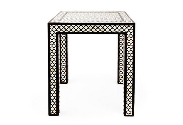 Bone Inlay Accent Table On OneKingsLane.com Bone/wood Size