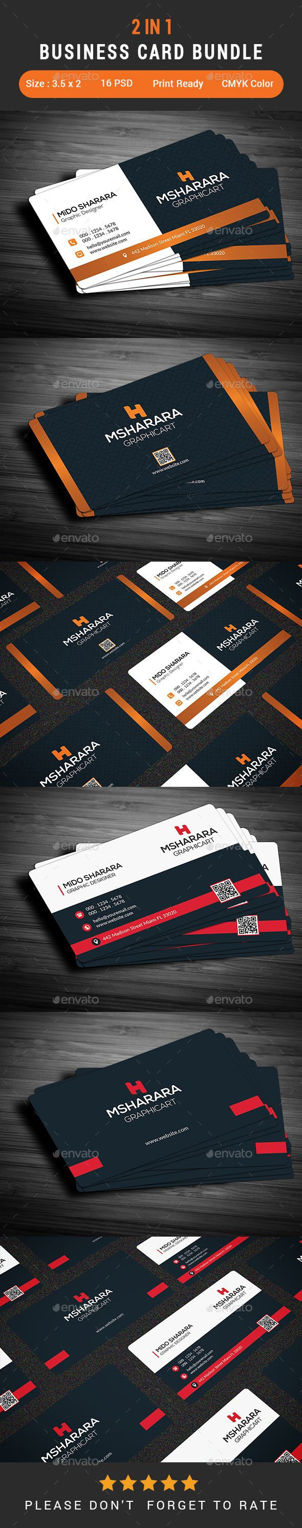 2 In 1 Business Card Bundle Business Cards Print Templates