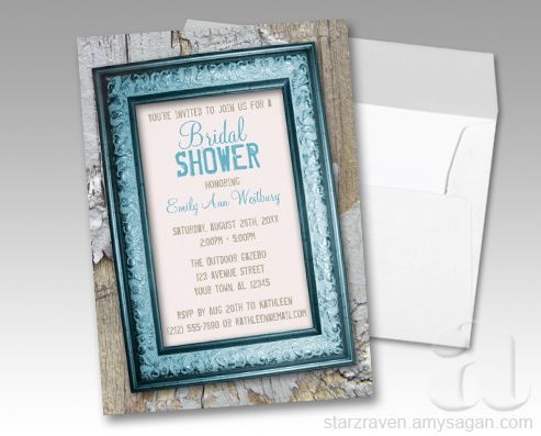 Blue Southern Country Rustic Bridal Shower Invitations