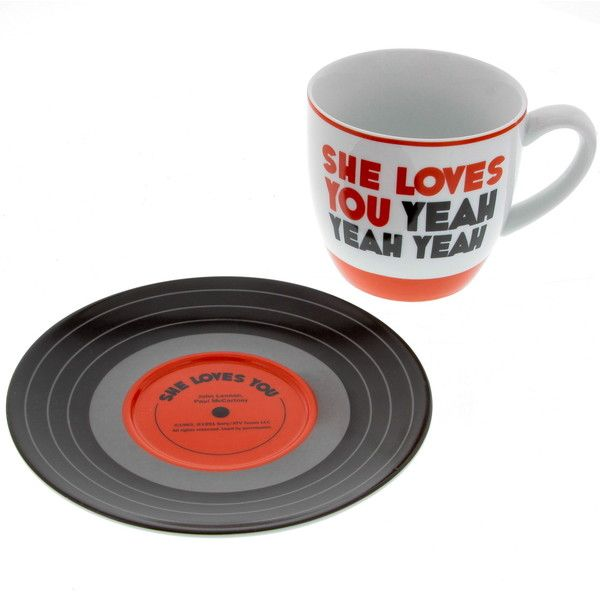 Beatles She Loves You Lyrics Mug and Saucer (€13) ❤ liked on Polyvore featuring home, kitchen & dining, drinkware and i love you mug