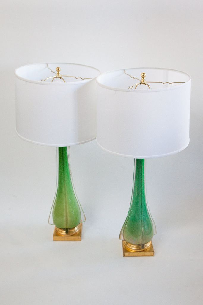 Pair Tall Italian Murano Glass Lamps Vintage Lamp Glass Lamp Murano Glass