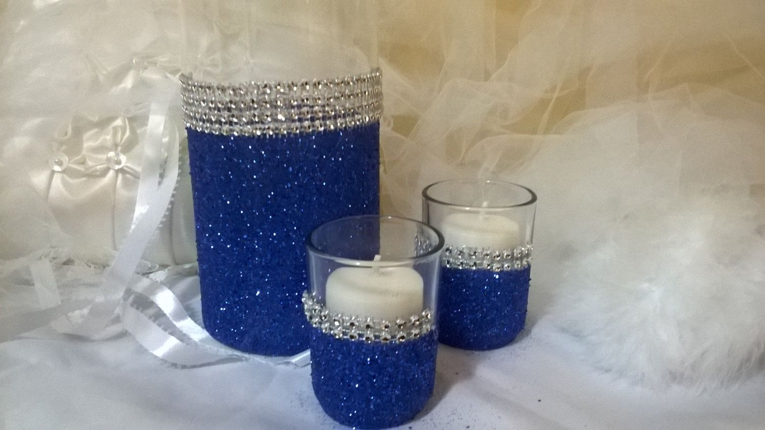 Royal blue glitter vase wedding centerpiece bridal shower baby royal blue and silver centerpieces royal blue glitter vase wedding centerpiece by 1designcrafts junglespirit Images