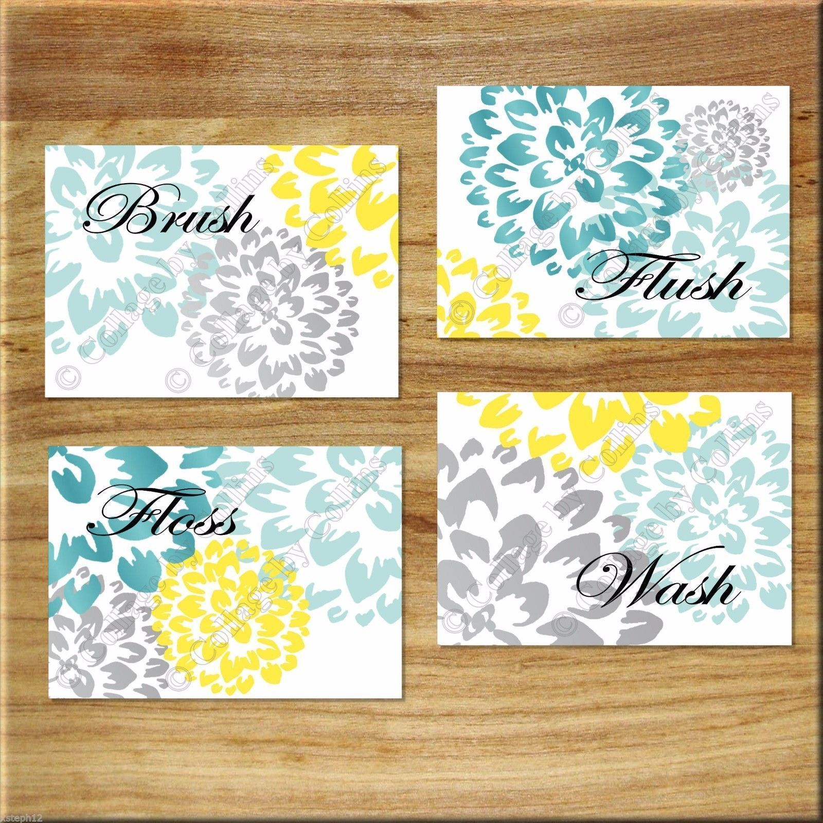 Teal Aqua Gray Yellow Bathroom Wall Art Prints Decor Floral Dahlia