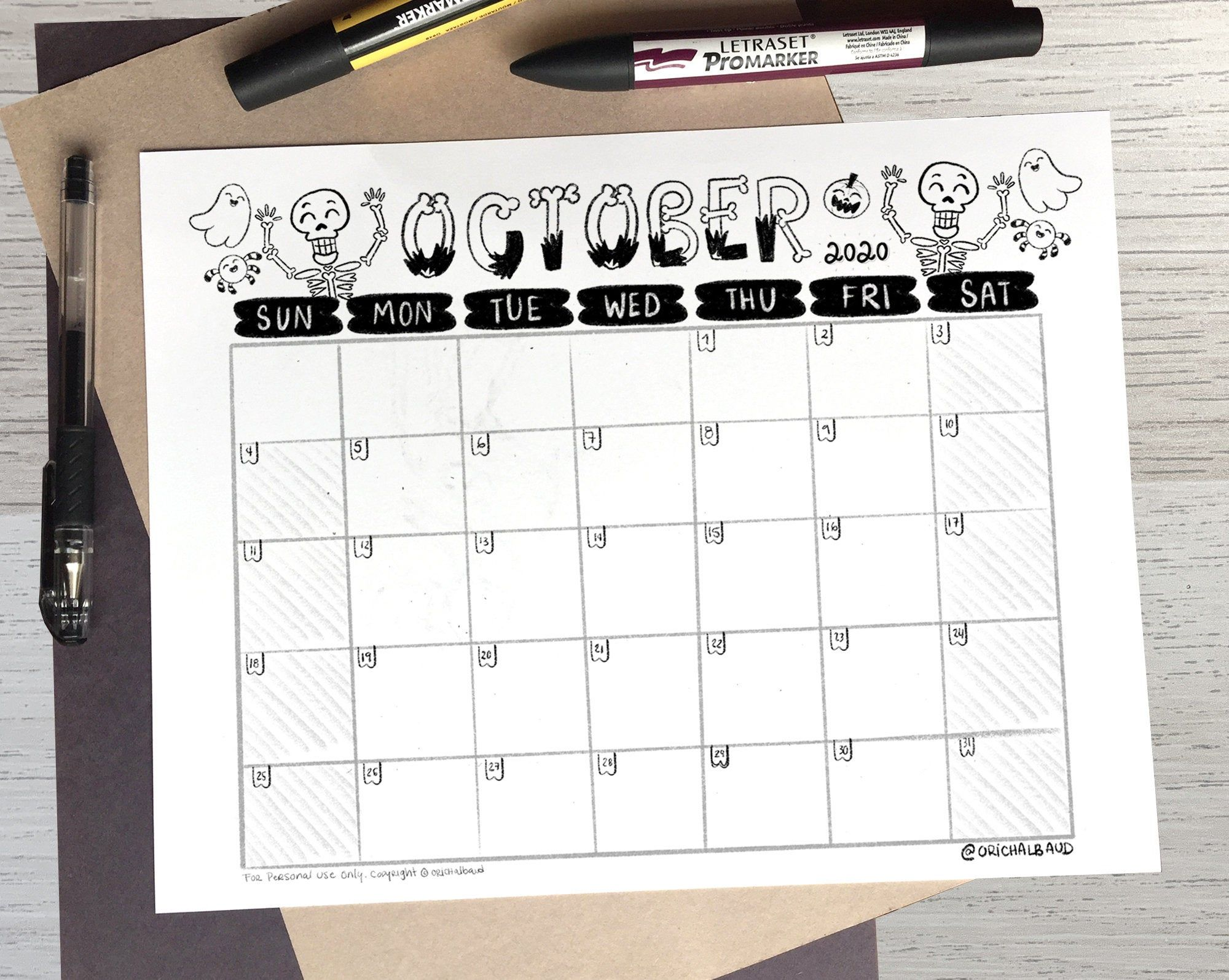 English Version Of Halloween 2020 Printable OCTOBER 2020 Calendar Black and White, Monthly Calendar