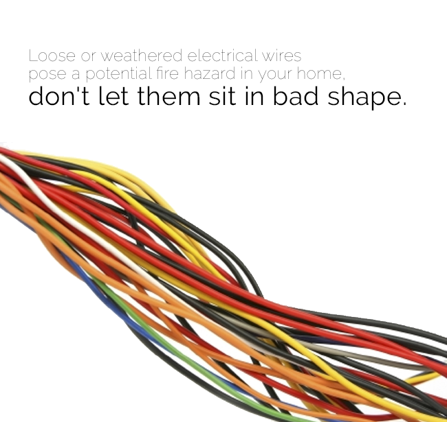 Loose Or Weathered Electrical Wires Pose A Potential Fire Hazard In Your Home Don T Let Them Sit In Bad Shape Https Home Repair Weathered Fire Hazard