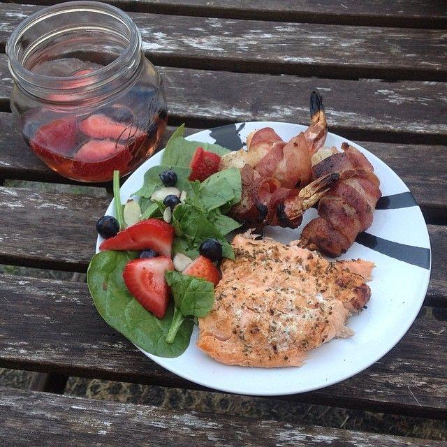 @Sassy Lemonade #foodie #salmon #baconwrappedshrimp