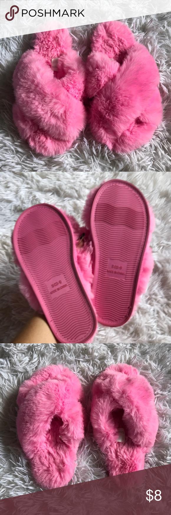 Children's pink fluffy slippers | Pink