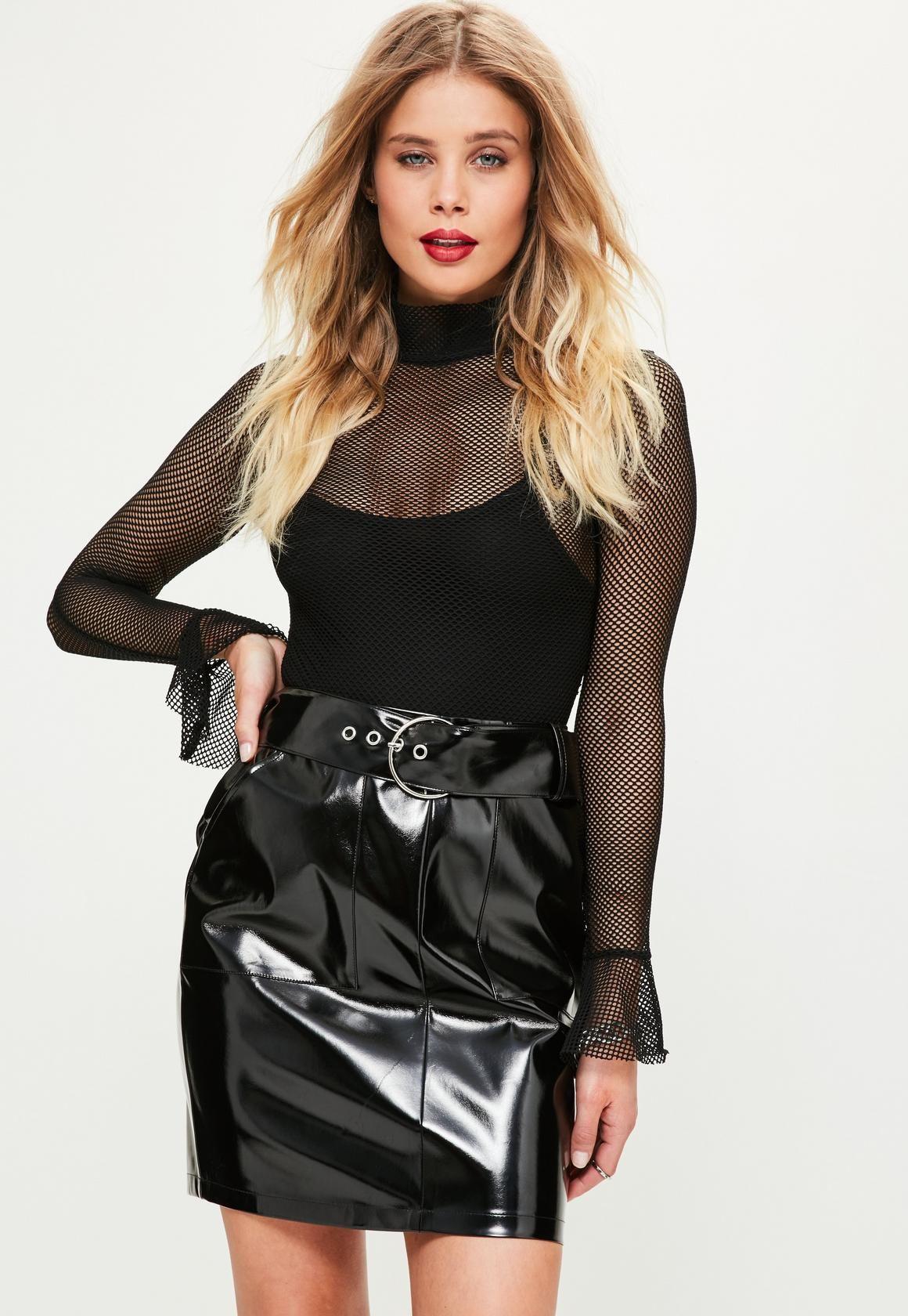 07e12e6d7 Black Shine Faux Leather Buckle Mini Skirt - Missguided | Missguided ...
