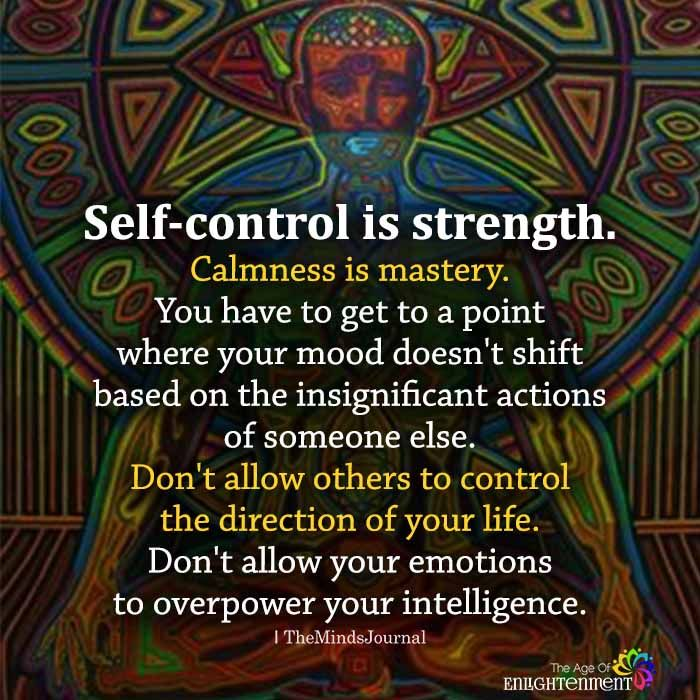Self-control is strength. Calmness is mastery. You have to get to a point where your mood doesn't shift based on the insignificant actions of someone else. Don't allow others to control the direction of your life. Don't allow your emotions to overpower your intelligence.