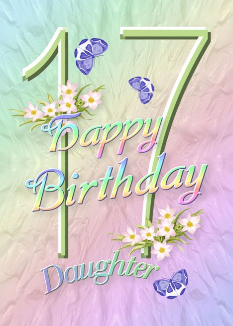 Daughter 17th Birthday Flowers and Butterflies card #17thbirthday