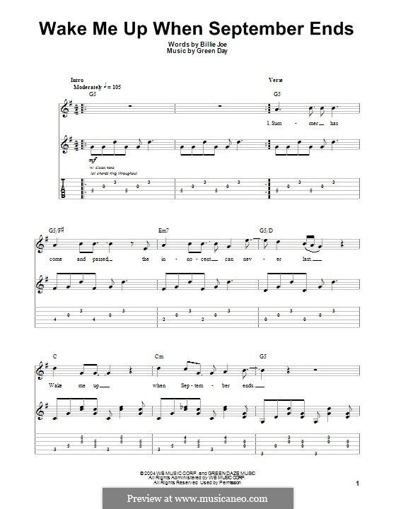 Wake Me Up When September Ends Green Day For Guitar With Tab By